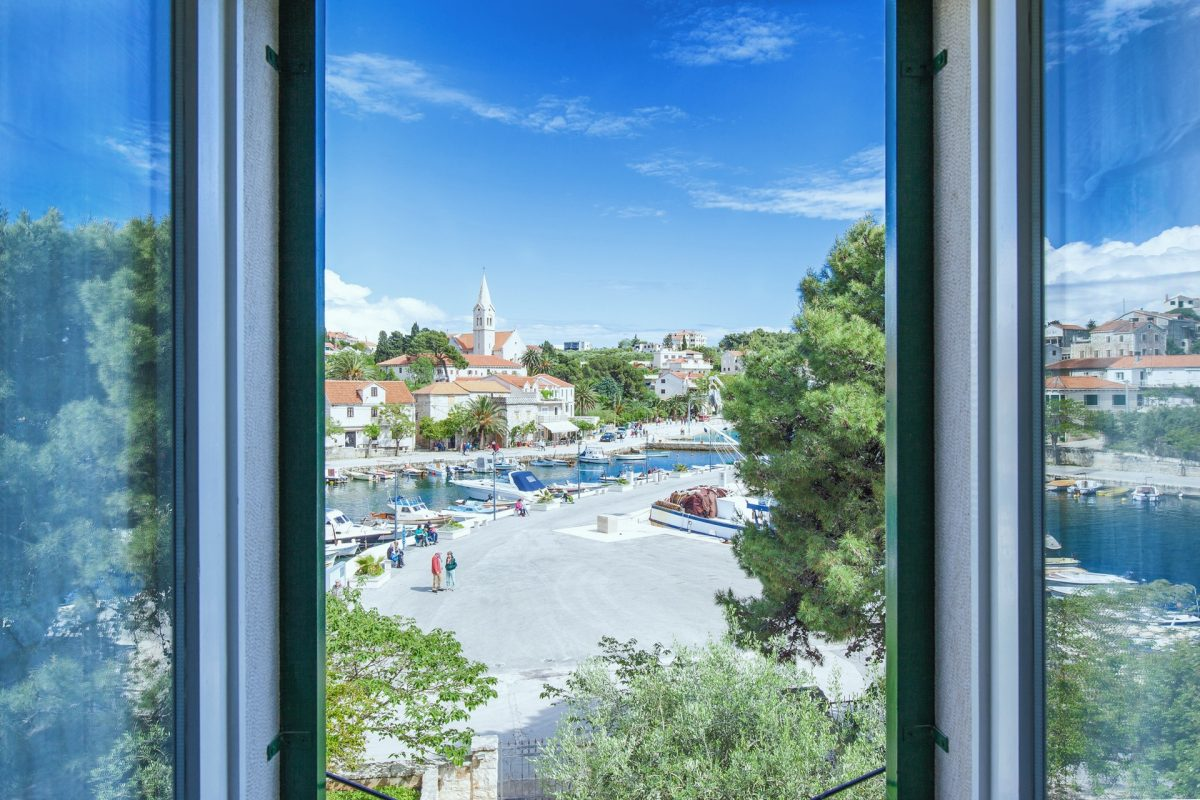 View from the bedroom in Villa Bonaca to Sumartin and its harbor
